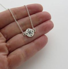 Sterling Silver Compass Necklace, Graduation Gift for Her She Believed She Could, So She Did