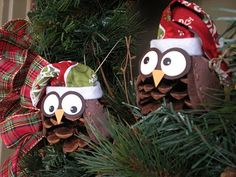 Owl Christmas ornaments. Finally!   Something to do with all those pinecones from the lake!