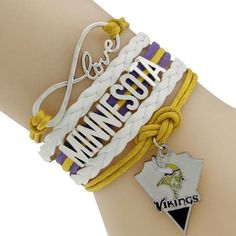 infinite love yellow and white and purple line with minnesota word with pendant Love Bracelets, Bangle Bracelets, Bangles, Necklaces, Purple Line, Infinity Charm, Minnesota Vikings, Vintage Accessories, Charmed