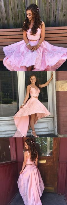 Pink two pieces lace hight low prom dress, pink evening dress – trendty