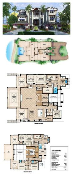 New House Plan 75915 | Total Living Area: 6189 sq. ft., 4 bedrooms and 4.5 bathrooms. With expansive glass doors and windows throughout, this plan takes advantage of natural light and ocean views from practically every room. #houseplan #newhouseplan