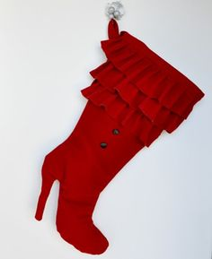 Shoes are every womans dream and almost every woman in the world loves them make that dream come true giving or getting this fabolous high heel Christmas stocking Stockings are Christmas Shoes, Christmas Trends, Christmas Items, Christmas Wreaths, Christmas Crafts, Christmas Christmas, Red High Heel Boots, Red High Heels, Heeled Boots
