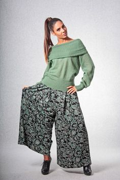 Pantskirt / Handmade pantskirt / Long pantskirt / Long skirt trousers / Patterned trousers / Winter pantskirts / Green skirt trousers di AtelierLeRagazze su Etsy