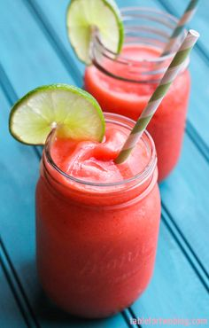 Boozy Strawberry Limeade. I make this during the hot summer months. Always a crowd pleaser!!