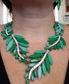 Oscar de la Renta green leaf necklace and earrings