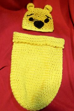 Crochet Pooh Bear Cocoon- make it look a bit more like a honey pot? or red sweaterish