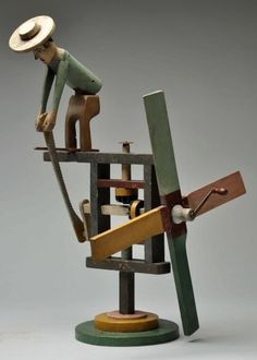 Folk Art Man with Windmill Whirligig. Kinetic Toys, Wood Crafts, Diy And Crafts, Marble Machine, Marionette, Weather Vanes, Wooden Clock, Wood Toys, Toy Boxes