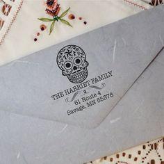 Custom Sugarskull Stamp - Address Round Stamp - Sugar Skull Ink Label - (Sugarskull_027)
