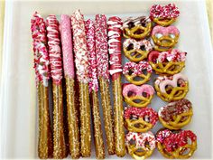Valentine's Day Chocolate Covered Pretzels  Cute for school.  A pretzel stick for each kid.