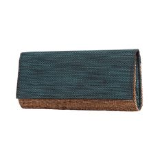 Banana fibre clutch with cotton Teal fabric