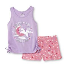 Unicorn Girl's Pajama Top & Shorts Set - Joe Boxer Size XS (4/5) NWT #JoeBoxer #PajamaSet
