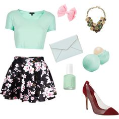 Mint candy apple by summer-millia on Polyvore featuring polyvore fashion style Topshop Gianvito Rossi Rebecca Minkoff Leslie Danzis Eos Essie
