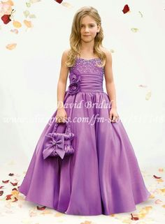 Vintage A Line Spaghetti Strap Beading Flowers Taffeta Long Flower Girl Dresses BD584-in Flower Girl Dresses from Apparel & Accessories on Aliexpress.com In Ivory
