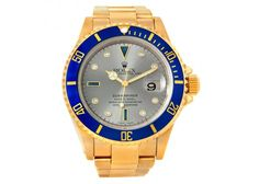 Rolex Submariner 18k Yellow Gold Serti Dial Watch 16618