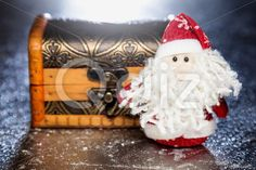Qdiz Stock Photos | Santa Claus with wooden chest,  #background #beard #box #celebration #chest #Christmas #Claus #Clause #closeup #decoration #decorative #doll #dower #eve #Father #figure #frost #fun #funny #gift #greeting #grunge #holiday #lights #little #Merry #metal #new #object #package #present #red #Santa #silver #small #surprise #toy #traditional #white #wood #wooden #x-mas #xmas #year