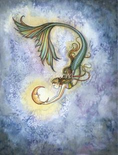 mermaid holding crescent moon - Google Search