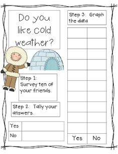 Mrs. Pauley's Kindergarten: Math Surveys Freebie! Love these cute winter surveys! #teachingchildrenmathematics