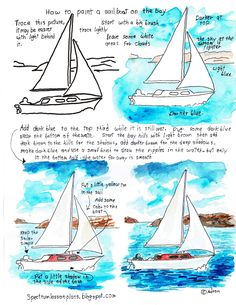 Adron's Art Lesson Plans: Printable How To Paint Worksheet, Sailboat On The Bay. see the project notes at the blog: http://spectrumartlessonplans.blogspot.com/2015/08/printable-how-to-paint-worksheet.html