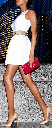 White shift dress and Jimmy Choo's this is simply perfection.