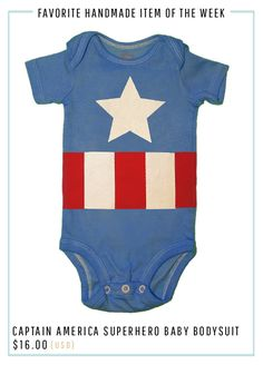 How cute is my favorite handmade item of the week? Make your baby Captain America (or check out the other ones patriotic hero outfits like Wonder Woman) for the Fourth of July! Plus, right now it's all on Sale!