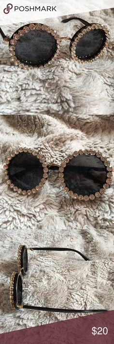 Crystal Round Black Trendy Sunglasses New without tag. Round framed sunglasses with gems all around. No brand- asos used for exposure ASOS Accessories Sunglasses
