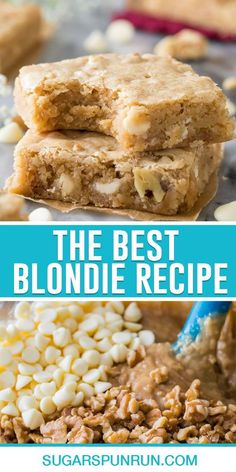 This is the best chewy blondie recipe! Buttery, soft, and simple to make (no mixer required!) I think you're going to really love these!