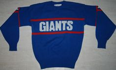 RARE VINTAGE NFL NY FOOTBALL GIANTS TEAM Cliff Engle WOOL JUMPER SWEATER BLUE S