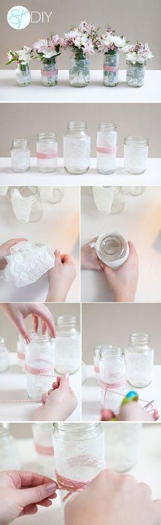 diy lace covered mason jars wedding / http://www.himisspuff.com/diy-wedding-centerpieces-on-a-budget/15/