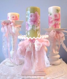 shabby chic lace pillar candle holders