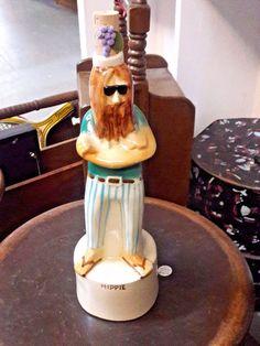 1968 Vintage HIPPIE Porcelain Liquor Bottle - Royal Enfield Collectible Statue