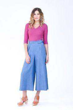 Flint pants by Megan Nielsen in floor length Linen