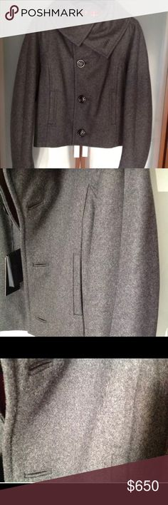 """Dsquared wool crop jacket THIS JACKET CAN BE WORN AS CLASSIC JACKET ALSO LOOK PICTURE SIZE : 40 ITALIAN  SHOULDER : 15 inches ( 38 cm) SLEEVES : 33 inches ( 84 cm )  SINGLE  BREST 5 BUTTONS IN THE FRONT + 1EXTRA IN BLACK ENVELOP  LOOK PICTURE # 5, 6  JACKET HAVE  2 FRONT POCKETS  JACKET ON THE BACK HAVE 2 DORTS LOOK PICTURE # 7, 8  100 % WOOL  CHARCOAL GRAY COLOR  100 % FLANEL COTON LINING ( RED/NAVY/WHITE PLAD )  THIS JACKET WAS PURCHASED IN RUSSIA MOSCOW CITY AT THE """"""""TSUM"""""""" LUXURY STORE…"""