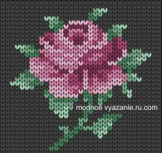 Knitting Pattern of the Rose (drawing) - Knitting Crochet Knitting Charts, Knitting Stitches, Knitting Patterns, Crochet Patterns, Hand Embroidery Designs, Embroidery Patterns, Machine Embroidery, Cross Stitching, Cross Stitch Embroidery