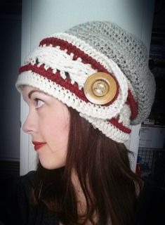 Classic Cable Slouch Hat Crochet Pattern Big Over Sized button headband cabled work sock traditional color wool Textured band Intermediate
