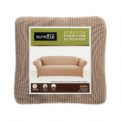 SureFit® Ticking Stripe Solid Stretch Sofa Slipcover | Christmas Tree Shops andThat!