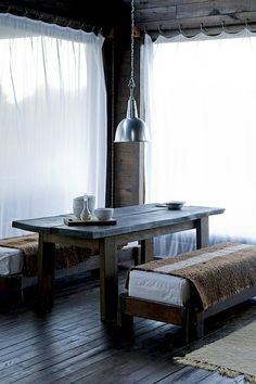 wood benches // dining room