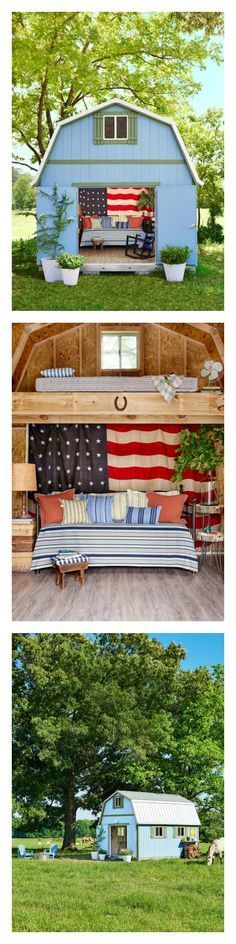 "This charming ""she shed"" started with a TUFF Shed structure from The Home Depot. It's everything we want in a backyard retreat. Its rustic decor makes a wonderful atmosphere for relaxing. You can decorate your own shed with these smart ideas!"