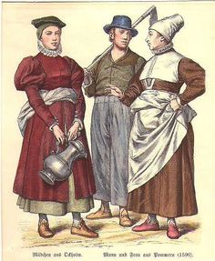 POMMERN: Mann und Frau aus Pommern und ein Mädchen aus Ockholm; um 1860, Holzstich, altkoloriert, 16x13 cm