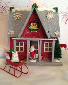 26 Lovely Christmas Wood Signs to Create a Unique Holiday Look - The Trending House Christmas Village Houses, Christmas Village Display, Putz Houses, Christmas Villages, Christmas Decorations, Christmas Ornaments, Christmas Glitter, Christmas Signs Wood, Vintage Christmas