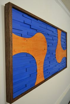 'Two to Tango' handcrafted wooden wall art by Stains and Grains. 4' x 2'  #blue #orange #woodart