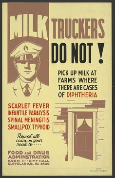 Many diseases used to be spread by milk, becoming an epidemic. Milk-borne diphtheria, scarlet fever, typhoid fever, small pox, and menintitis outbreaks were common in  the late 1800's to early 1900's. There were controlled through cataloging and reporting. This sign cautions milk truck drivers to refuse milk from farms where there are any cases of these diseases and to report such cases to the FDA. History shows that our milk is much safer!