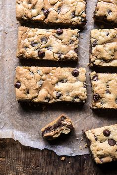 The Best Chocolate Chip Peanut Butter Swirled Cookie Bars | halfbakedharvest.com #cookies #cookiebars #peanutbutter #chocolate