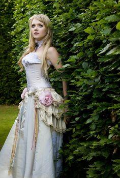 LADY ADVENTURER Burlesque Steampunk Vintage Bridal Romantic Tie on Show Bustle