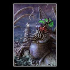Light of Cthulhu: #Cthulhu Rises from the Sea The lighthouse keeper understandably went insane because during the storm he witnessed the great old one, Cthulhu rise from the depths. In this painting you see Cthulhu rise from the depths of the ocean next to a large lighthouse. This Cthulhu was designed by Tobias White but is based not only after H.P. Lovecraft's writing but also from an old rough sketch he did for a friend. Now on Zazzle. #Lovecraft Artwork   $24.90 for a 24 X 35 Poster