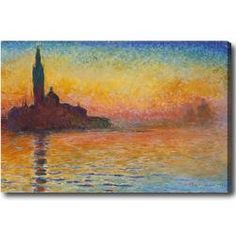 """@Overstock - Artist: Claude Monet  Title: San Giorgio Maggiore at Dusk  Product type: Gallery-wrapped canvas art 20""""X30"""" http://www.overstock.com/Home-Garden/Claude-Monet-San-Giorgio-Maggiore-at-Dusk-Hand-painted-Oil-on-Canvas/6699057/product.html?CID=214117 $92.19"""