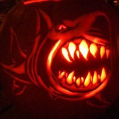 Mist shows his #Sharkoween spirit with a carved Sharks pumpkin.
