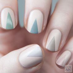 Polish Hound: Taped Triangle Tips with Zoya Naturel Satins [Nail Art]