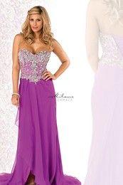Milano Formals E1633 - Strapless Beaded Bodice w/ Floor Chiffon Dress