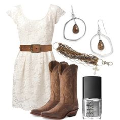 Love this look!!  Resembles my newyears outfit!   White lace with cowboy boots... So cute!
