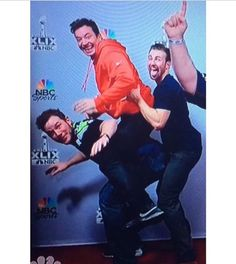 These three are killing me. Chris Evans, Chris Pratt, Jimmy Fallon